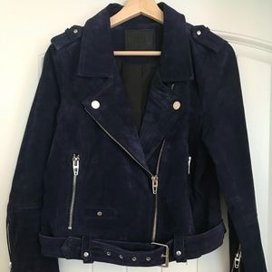 Blank NYC navy suede moto jacket